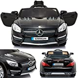 SIMRON - Mercedes-Benz SL-63 AMG Cabriolet Ride-On 12V Elektro Kinderauto Kinderfahrzeug Kinder Elektroauto (Schwarz) -
