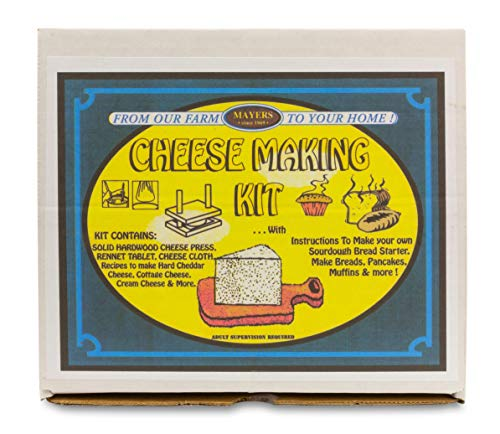 DIY Fresh Cheese Making Kit - Cheddar Cheese, Cottage Cheese, Cream Cheese and More - Includes Cheese Cloth, Wooden Cheese Press, Rennet Tablet, and Complete Instructions