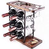 LINGLAN Estante de vino 6 botellas, estantes de soporte para botellas de vino, 3 estantes de exhibición de vino con 2 estantes de secado de copas de vino