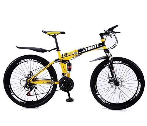 MOOLUNS 26 Pulgadas Chico Bicicleta de Montaña,30 Velocidades Rueda de Radios Plegable Bicicletas de Acero Al Carbono,Doble Choque Velocidad Variable Bicicleta, Unisexo,Amarillo,26in (24 Speed)