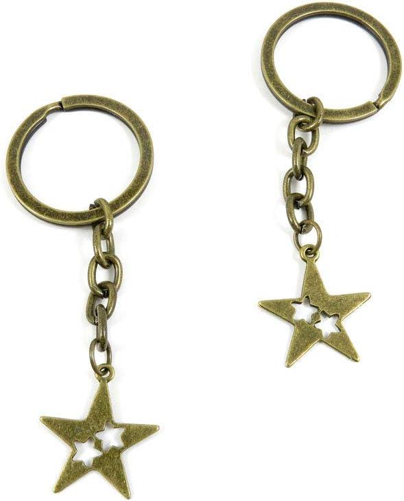 20 Items Keychain Keyring Key Tags Chains Rings Jewelry Bag Charms W1XU5 Three Stars