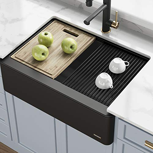 Kraus KGF1-30BLACK Bellucci inch CeramTek Granite Quartz Composite Farmhouse Flat Apron Front Single Bowl Kitchen Sink