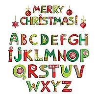 クリスマスの壁の装飾ウォールステッカー壁画メリークリスマスステッカー26アルファベット子供部屋の背景デカール4個