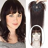 10'(25cm) SEGO Protesis Capilar Mujer Pelo Natural con Flequillo Postizo [#2 Castaño Oscuro] Extensiones de Clip Cabello Humano Remy Human Hair Toppers (32g)