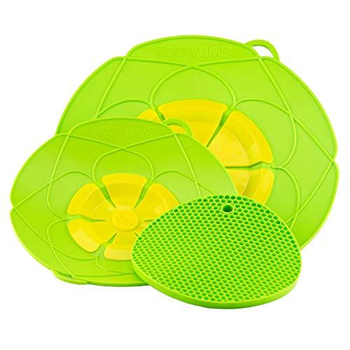 Kochblume Profi-Set für Töpfe von 14 bis 28 cm mit Bionic Multipad als Set in der pinken Box | Silikon Überkochschutz und Untersetzer/Topflappen (Limette)