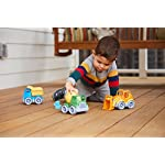 Child Playing with Green Toys Construction Vehicle (3 Pack) Outdoors