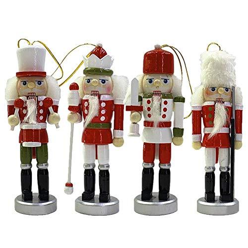 N/Y 4,72 Zoll hölzerner Nussknacker Mini handbemalt Retro Pilger Soldaten Ornament Figuren Puppen Weihnachtsdekor Geschenke (4 PCS)