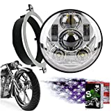 SLK-Lights VTX 5.75 inch Chrome Round LED Projector Daymaker Headlight with Bracket and Hardware – Easy to Install, Plug and Play Motorcycle Headlight compatible with Honda VTX 1300, VTX 1800