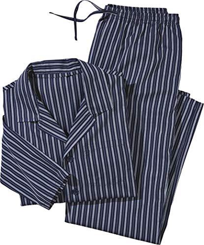 Golden Lutz - Herren Web Pyjama, lang (Navy weiß grau gestreift, Gr. L) | LIVERGY