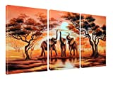 Canvas Wall Art African Elephants Painting Print on Canvas Wall Art 12' x 16' x 3 Panels Landscape Pictures Paintings Artwork Framed for Living Room Home Decoration