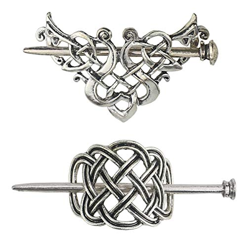Tinsow 2 Pcs Silver Celtic Hair Slide Hairpins Hair Accessories Hair Clips, Creative Hair Barrette Minimalist Hair Claw Hair Pin Hair Accessories for Women (Style C H)