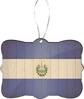 "Rikki Knight El Salvador 国旗仿旧木设计树饰/汽车后视镜挂钩 El Salvador Flag on Distressed Wood 3.5"" x 2.5"" RKWS-SQORN-8591"