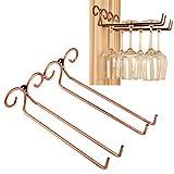 Stemware Rack Hipsteen 2 filas 6 copas de acero inoxidable montado en la pared para copas de vino, soporte de vidrio para el hogar, bar, club, bronce