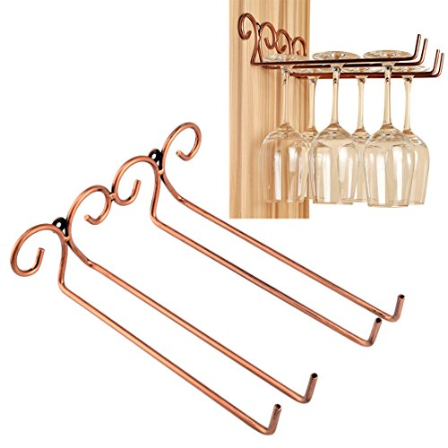 Soportes para copas, Foxom Stemware accesorio de montaje en pared con tornillos Pack de 2 Fila para Bar casa Cafe 27*24*7.5cm marrón