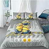Tomifine Juego de ropa de cama infantil de Minions, funda nórdica de 135 x 200 cm, de microfibra, suave y cómoda (A,220 x 240 cm)