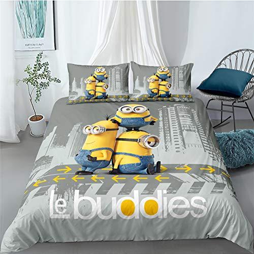Tomifine Juego de ropa de cama infantil de Minions, funda nórdica de 135 x 200 cm, de microfibra,...
