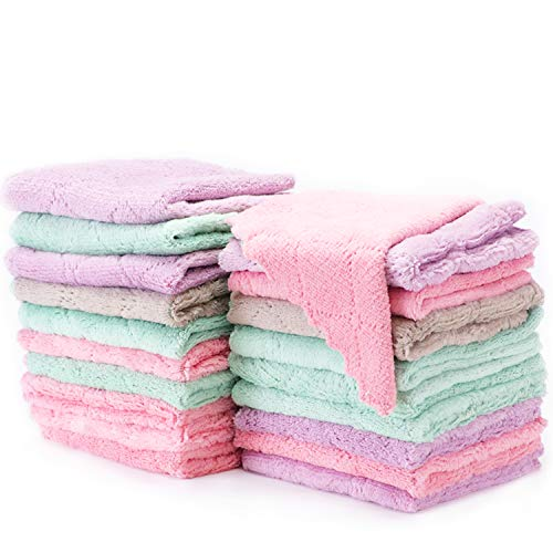 WANJIALE Kitchen Dish Cloth Towels Premium Dishcloths 20 Pack 10x10 Inches washcloths Super Absorbent Coral Velvet Dishtowels, Nonstick Oil Washable Fast Drying (Assorted)