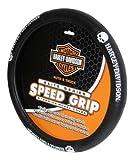 Harley-Davidson Skull Black Speed Grip Style Steering Wheel Cover P6646