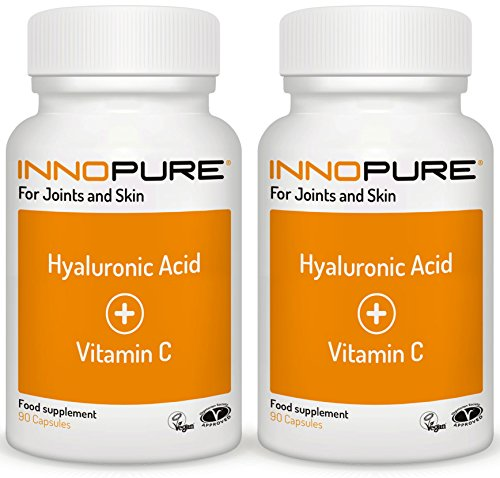 Vitamin C Tablets High Strength with Hyaluronic Acid, Saver Pack 180 Capsules - Vegan and Vegetarian Society Approved - Made in the UK by Innopure