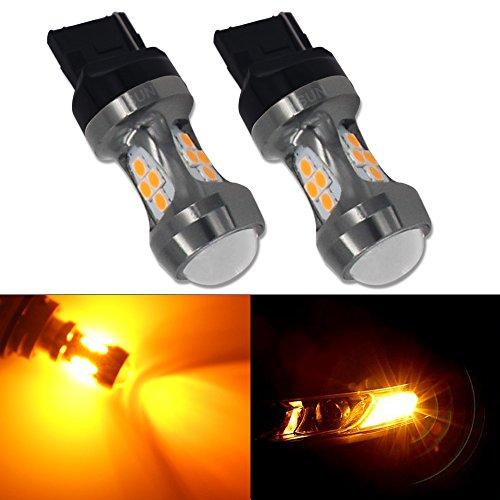 HSUN 7440 WY21W T20 Ampoules LED,Ampoules LED extrêmement puissantes pour les jeux de puces SMD3030 pour la voiture Tourner la lumière, Paquet de 2, Ambre / Orange