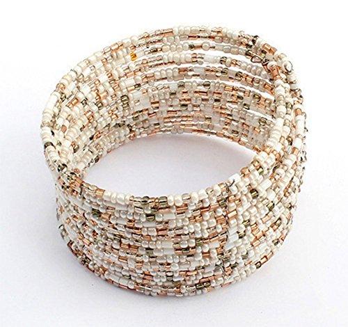CAOLATOR Bracelet Femme Perles légères Cylindre Multicouche Conception rétro PU Cordon Cuir tressé Alliage Cuir Bracelet Bracelet Menotte Chaîne de Main Tribal Tressé