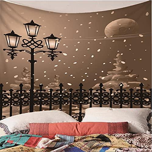 Weibing Tapiz de impresión en Color 3D Estilo Retro Noche Calle farola Valla patrón de Escena de Nieve decoración para el hogar tapices Arte de Pared para Habitaciones 350(An) x256(H) cm