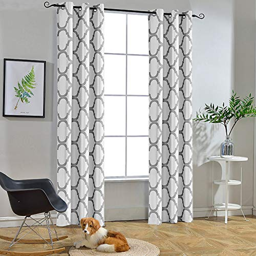 Melodieux Moroccan Fashion Thermal Insulated Room Darkening Blackout Grommet Curtains for Living Room, 42 by 63 Inch, Off White/Grey (2 Panels)