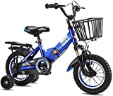 REWD Lightweight Kids Bike Boys Girls Kids Bike BMX Freestyle 2 Hand Brakes Bicycles with Training Wheels Child Bicycle,Colour:Orange (Color : Blue, Size : 16inch)