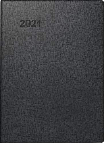 Brunnen 1073690901 Taschenkalender Modell 736, 1 Seite = 1 Tag, 10 x 14 cm, Kunststoff-Einband schwarz, kariertes Kalendarium 2021