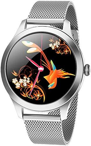 Reloj inteligente para mujer, con monitor de presión arterial y ritmo cardíaco, IP68, impermeable, BT Fitness Tracker compatible con Android iOS Fitness pulsera Smartwatch-plata