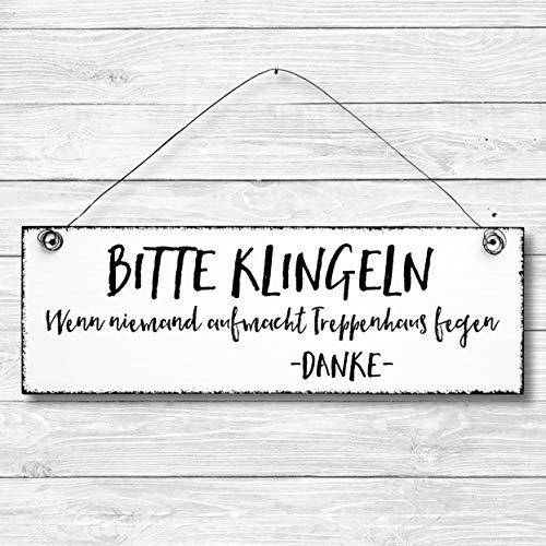 Bitte klingeln - Dekoschild Türschild Wandschild aus Holz 10x30cm - Holzdeko Holzbild Deko Schild