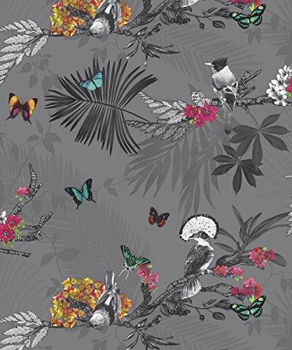 Arthouse 664800 Papel Pintado Bosque Místico, Pizarra, 53 cm x 10.05 m