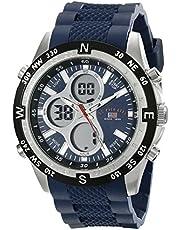 يو. اس بولو اسن ساعة رياضية للرجال US9137 عرض انالوج ورقمي مصنوعة من السيلكون باللون الازرق
