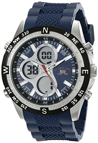 U.S. Polo Assn. Relógio esportivo masculino esportivo digital analógico de silicone azul US9137 da Sport