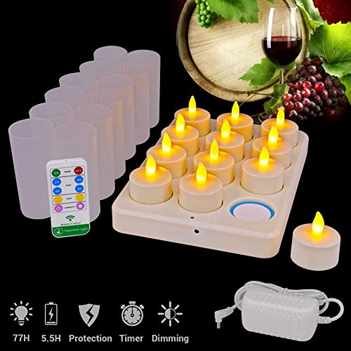 HL Flameless Rechargeable Candles - Flickering Led Candle Tealights - 77 Hours Lasting Inductive Charging Candle with Timing Remote for Wedding Party Centerpiece (Yellow/Amber, 12 Pack)