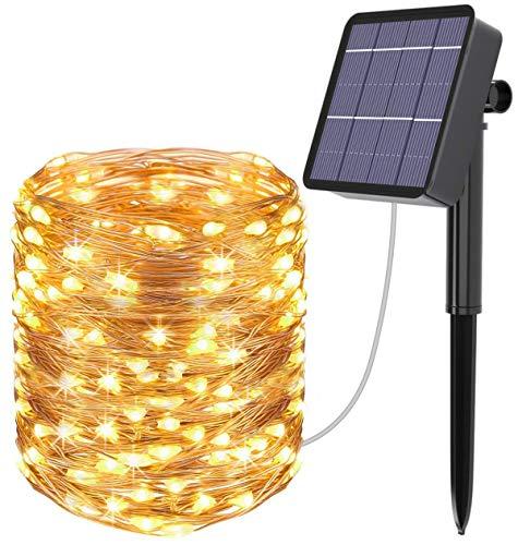AICase Catena Luminosa Solare da Esterno, 22m 200 LED Stringa Luci Solari Impermeabile IP67 per Decorazione Giardino, Camera da Letto, Matrimonio, Albero di Natale (Bianco Caldo)