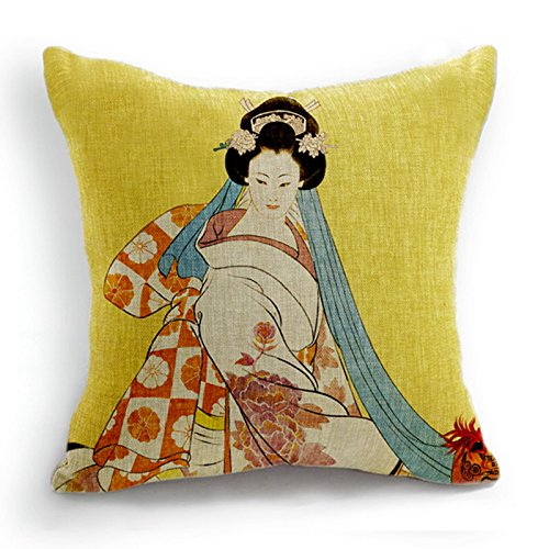Telisha Retro Style Yellow Japanese Geisha Women Home Decor Throw Cushion  Cover Pillow Case Sham 18 c98006786
