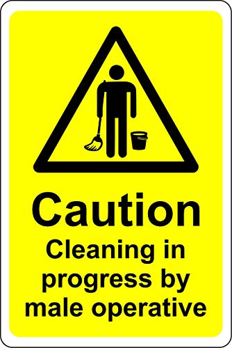 Retro Aluminum Metal Sign 12x16inches,Caution Cleaning in Progress by Male operatives Toilet,Art Decoration for Bar Cafe Hotel Office Cafeteria Home Pub Bar Deco Wall Decor Poster