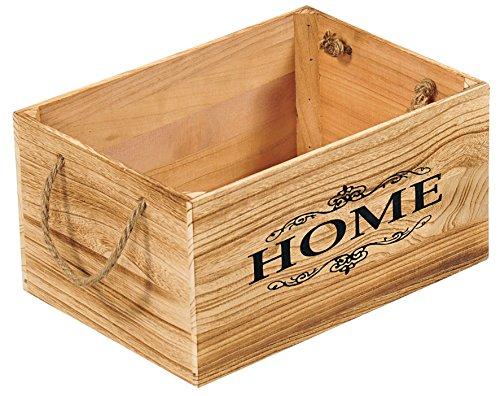 KESPER 69490 Aufbewahrungs- & Deko-Kiste HOME 35 x 25 x 18 cm, Paulowniaholz/Holzkiste/Dekokiste