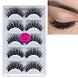 DAODER 3D Mink Lashes Strip Dramatic False Eyelashes High Volume Thick Long Fluffy Soft Reusable Wispy Fake Eyelashes for Daily Wear 5 Pairs