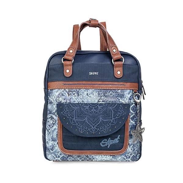 51pNo2qRPSL. SS600  - SKPAT - Bolso Mochila de Mujer. Diseño Casual. Práctico Cómodo Ligero y Resistente. Lona Estampada y Cuero PU Bonito Diseño. Estilo Elegante. Llavero. 304524, Color Azul