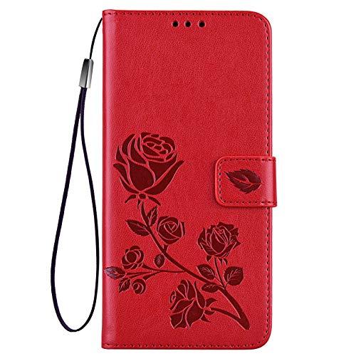 GOGME Funda para Xiaomi Redmi Note 10 Pro Funda, Suave PU/TPU Cuero Flip Carcasa Case Cover, Cubierta Magnética en Relieve de la Rosa, Billetera con Soporte/Tapa Tarjetas. Rojo