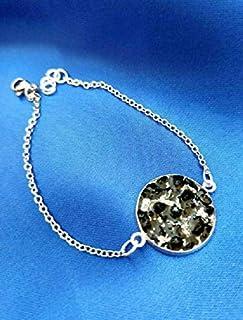 Pulsera de acero con piedras y cristales, Turmalina negra hecha a mano ajustable