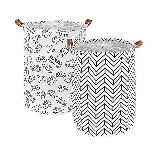 GoMaihe 2 Stück Wäschekorb Faltbar, 40 x 50 cm Wäschesack Wäschekörbe Groß Kinderzimmer Wäschesammler mit Ledergriffen und Kordelzug für Schlafzimmer Lagerung Baby Kleidung Spielzeug, Weiß, MEHRWEG