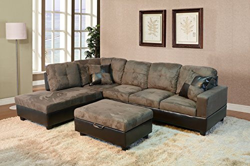 Lifestyle Furniture Left Hand 3PC Sectional Sofa Set,Microfiber Cushion & Faux Leather Base,Taupe(LFSF102A)