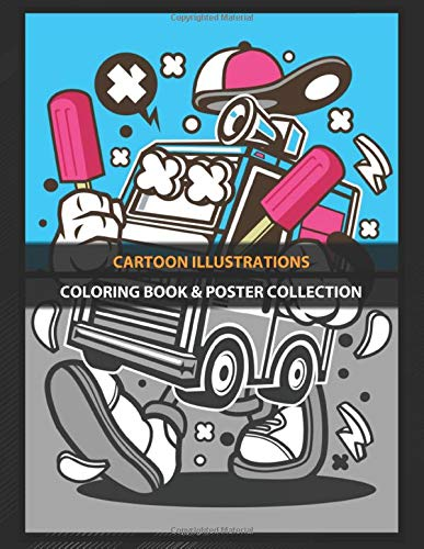 Coloring Book & Poster Collection: Cartoon Illustrations Ice Cream Truck Cartoons