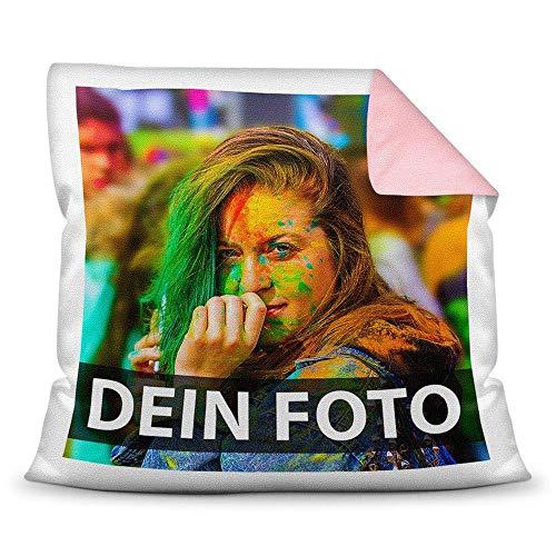 Tassendruck Foto-Kissen Selbst gestalten (40 x 40 cm) - mit Foto individuell Bedruckt/Rückseite Rosa/Personalisierte Geschenk-Idee/Deko-Kissen/Kopf-Kissen inkl. Füllung