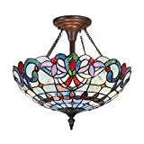 Maxxmore Tiffany Flush Mount Ceiling Light Victorian Tiffany Ceiling Light Fixtures 2-Light Fixture Ceiling 16' Decorative Ceiling Lights Hallway Light Fixtures Stained Glass Lamps