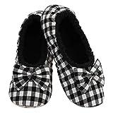 Snoozies Mini Buffalo Plaid Ballerina - Womens Slippers - Black/White - Medium