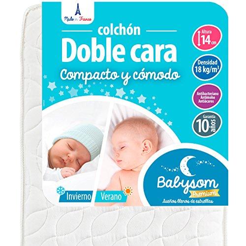 Babysom - Colchón Cuna Bebé Doble cara - 60 x 120 cm - Verano/Invierno - Altura 14 cm - Antiácaros - Antiasfixia - Transpirable - Reglaje Térmico